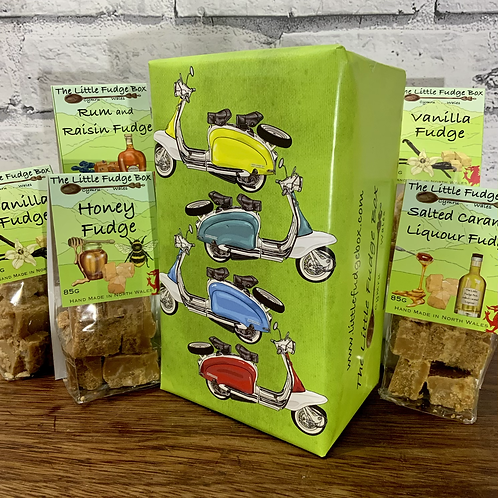 Fudge gift box from The Little Gift Box wrapped in unique hand drawn design featuring 4 vintage lambretta scooters.