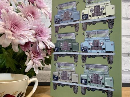 Land rover Greetings Card and Matching Fudge Gift Box.