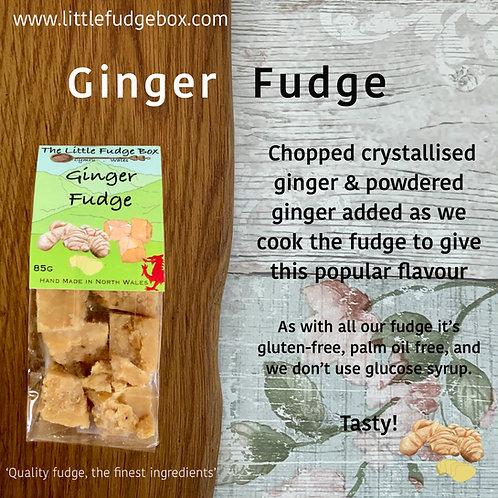 ginger spiced fudge, crystallised, ground ginger, compostable packaging, stocking filler, christmas gift, gingerbread fudge,