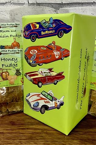 Fudge Gift Box 'Vintage Toy Cars' choose 5 bags  Welsh handmade present Batman