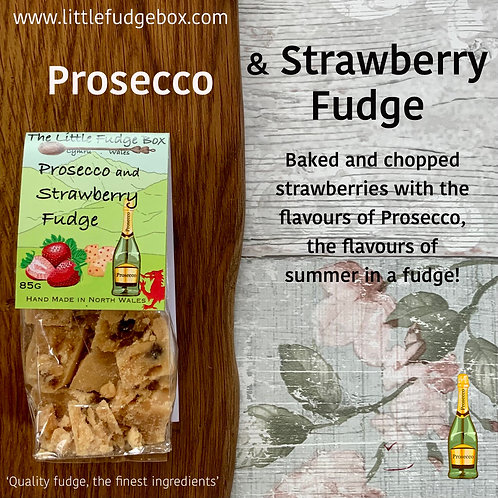 little fudge box prosecco and strawberry fudge smooth creamy crumbly baked strawberries girly bridesmaid gift wedding favour