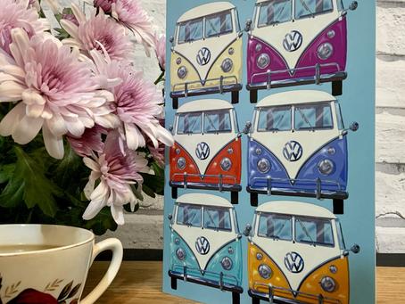 VW Camper Van Greetings Card and Fudge Gift Box.