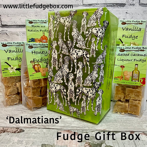 Fudge gift box from The Little Fudge Box featuring bespoke hand illustrated gift wrap of dalmatian dogs in a variety of poses