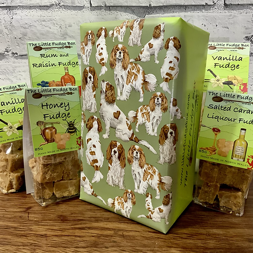 Gift box from The Little Fudge Box featuring unique hand drawn gift wrap design of Cavalier King Charles Spaniel dogs.