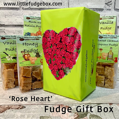 Valentines Day fudge gift box wrapped in original hand drawn design of red roses shaped into a heart on a green background
