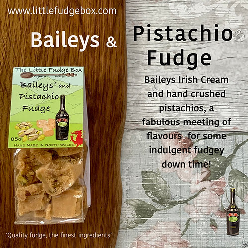 baileys and pistachio nut fudge compostable packaging, irish cream liqueur fudge, sweet alcohol fudge, christmas adult