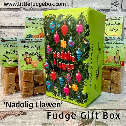Limited Edition 'Nadolig Llawen' Fudge Christmas Gift Box 5 bags Cyffug Cymraeg