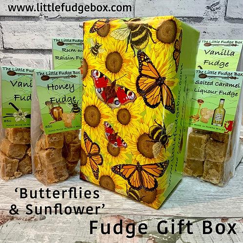 sunflower butterfly bee bumblebee fudge gift box, summer summertime cheerful gift stocking filler hamper ideas welsh, cymraeg