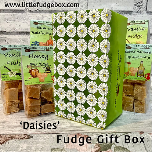 Specially designed gift wrapped fudge box featuring geometrically arranged daisy design. From The Little Fudge Box.