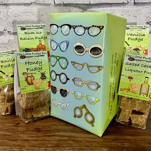 Spectacular Spectacles fudge gift box. Wrapping paper showing a collection of hand drawn vintage eye glasses.