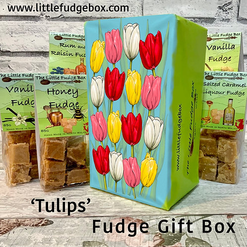 Fudge Gift Box Tulips delicious personalised Welsh handmade present floral tulip