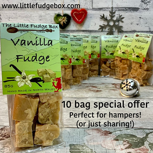 10 Vanilla Fudge bags, hamper builder, stocking filler, gifting larger quantity