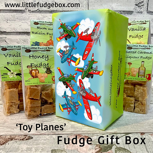 Fudge Gift Box Toy Aeroplanes delicious personalised Welsh handmade planes