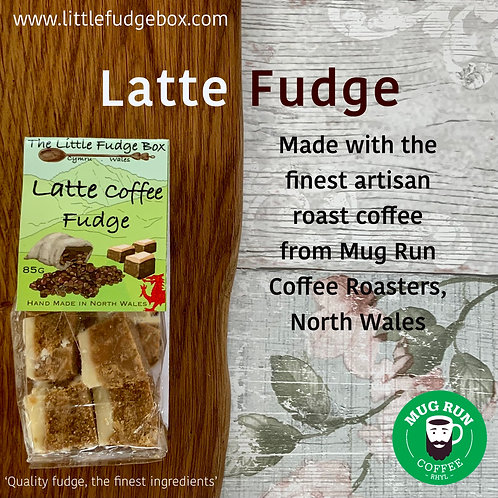 latte coffee fudge artisan gourmet mug run roasted coffee quality coffee fudge, gift compostable packaging bag welsh