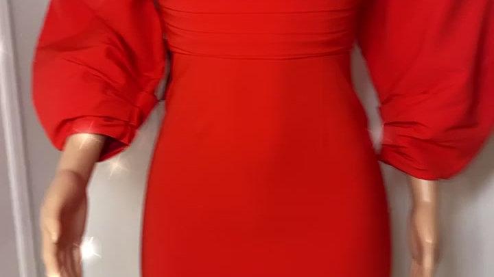 hour dress fiery red
