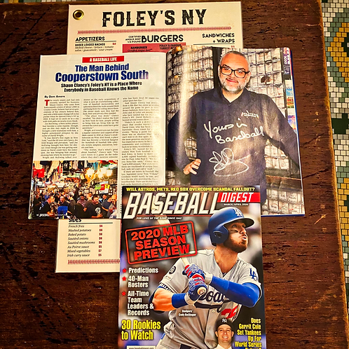 Foley's Menu and Signed Baseball Digest