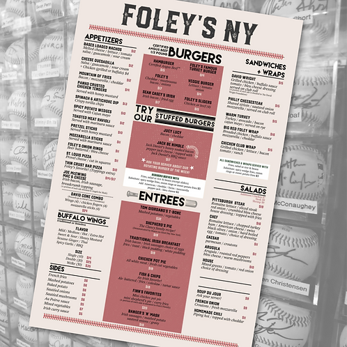 Foley's Menu