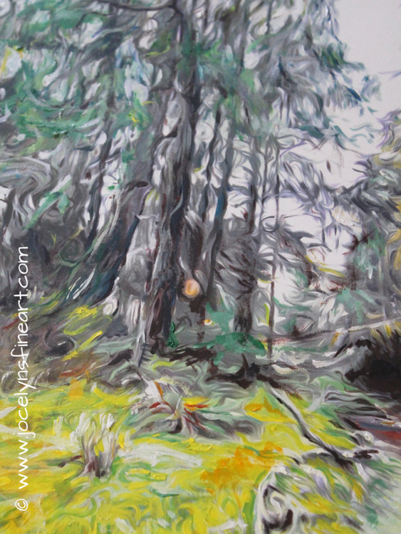 """Whispering Firs  13""""x19"""" Acrylics on 300 GSM Paper-framed and matted 20X28  $325 original"""