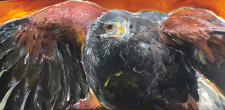 "Eye On The Skye  Acrylics on 40'X20"" Canvas/Mixed Media  $550-original"