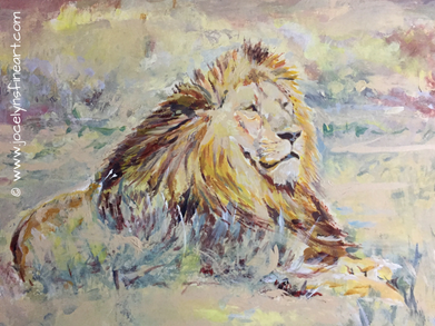 "Yellow mane Lion   17""X11"" Acrylics on 300 GSM Paper-unframed  $250 original"