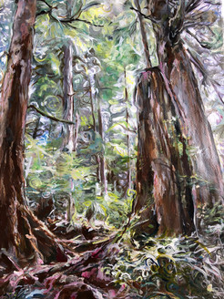 """Avatar Grove  Acrylics on 17""""X13"""" 300 GSM Paper-framed and matted under glass 25"""" X 31""""  $400-original"""