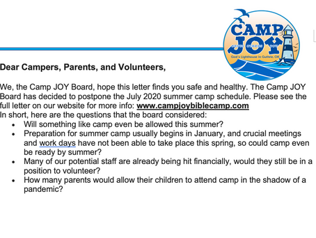2020 Summer Camps Postponed