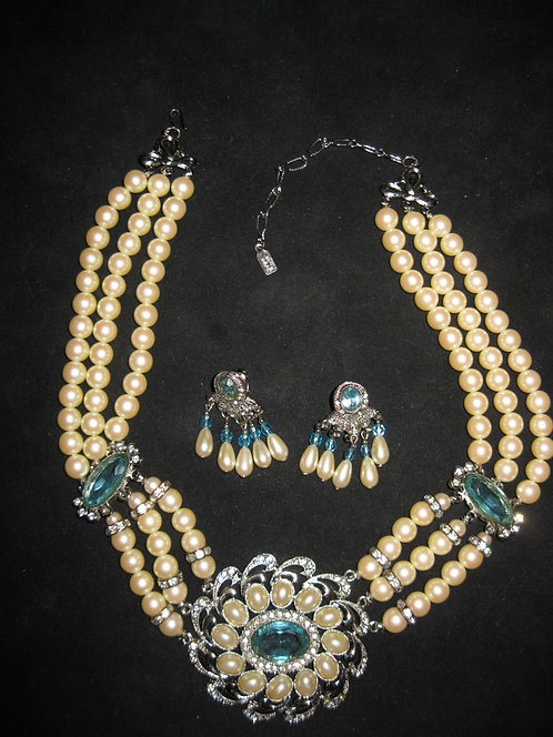 1928 ART DECO PEARL & AQUAMARINE NECKLACE & EARRIN