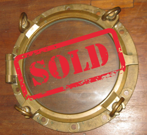 "VINTAGE 20"" SOLID BRASS AUTHENTIC 4 DOG PORTHOLE"