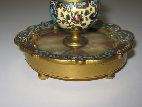 1800'S CHAMPLEVE & MARBLE CLOISONNE INK WELL