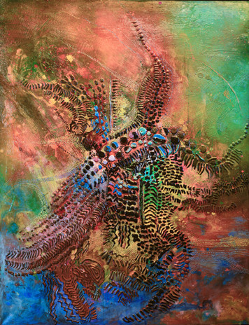 """2,Title #2 Courage & Beauty 48""""x36"""" Mixed media on canvas."""