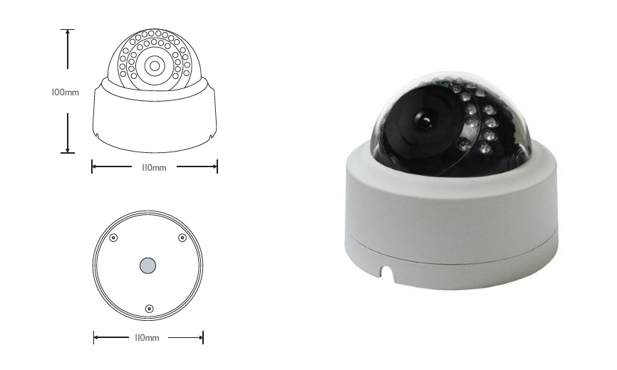 CVT-D24E/D24EAF: STARVIS 2.1M Indoor 24IR Dome, Low light sensor / Auto focus zoom