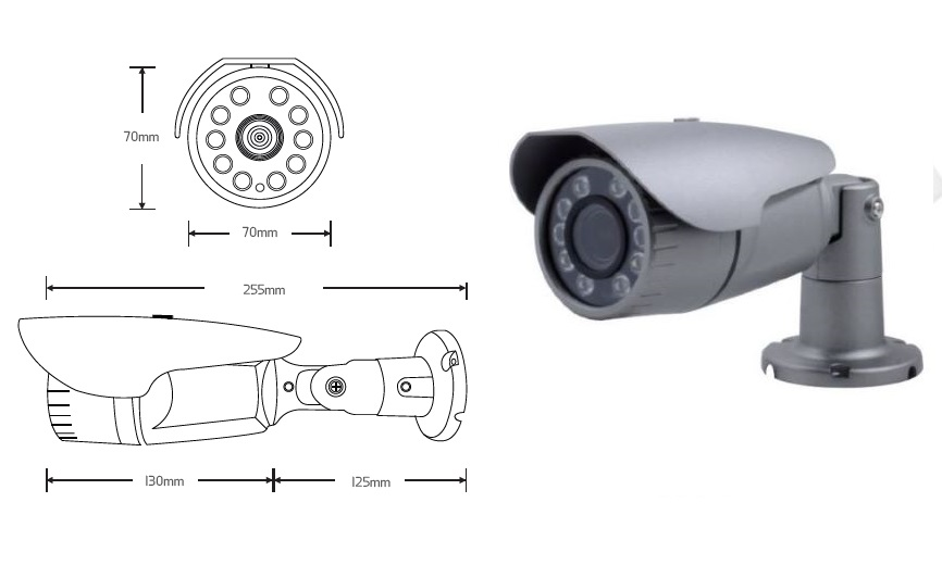 CVT-B10X(75): AUTOLIGHT 2.1M Outdoor Searchlight 4 IR + High power 6 IR LED