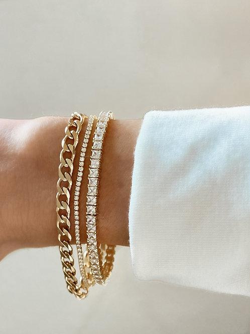 Gold Princess Cut Tennis Bracelet