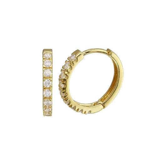 15mm Gold CZ Hoop Earrings