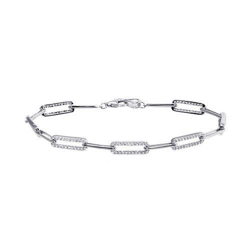 Silver Pave Link Bracelet
