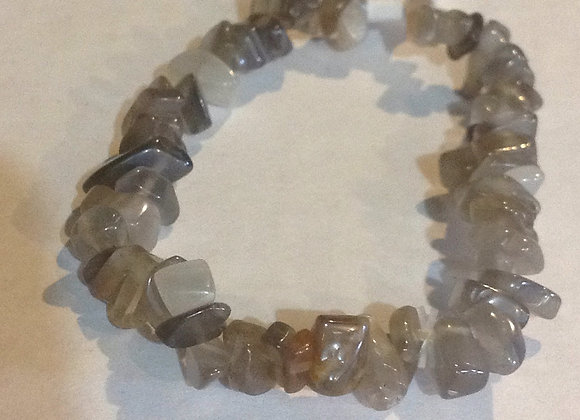 Black Moonstone Gemstone Chip Bracelet