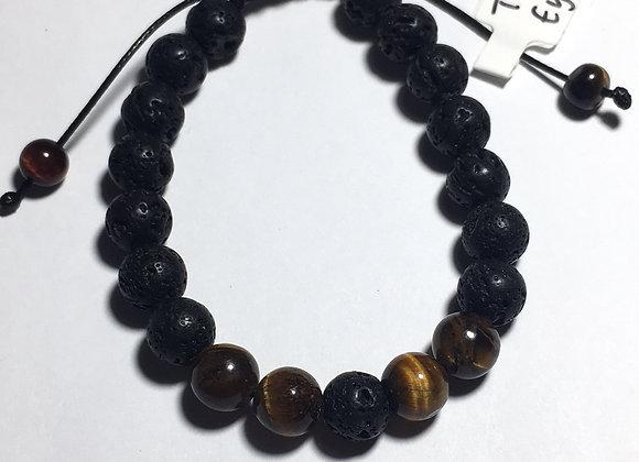 Tigers Eye Lava Bead Essential Oil Diffuser Adjustable Bracelet