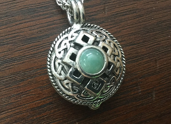 Jade Celtic Knot - Pewter Essential Oil Diffuser Necklace