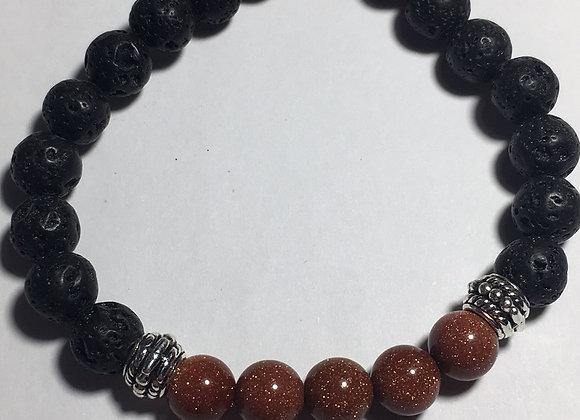 Goldstone Lava Bead Essential Oil Diffuser Stretch Bracelet