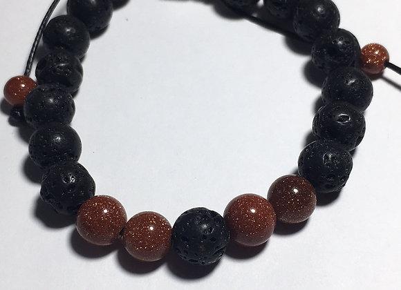 Goldstone Lava Bead Essential Oil Diffuser Bracelet
