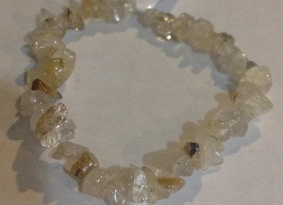 Rutilated Quartz Gemstone Chip Bracelet