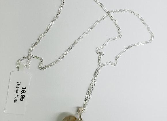 Rutilated Quartz Gemstone Heart Pendant Necklace