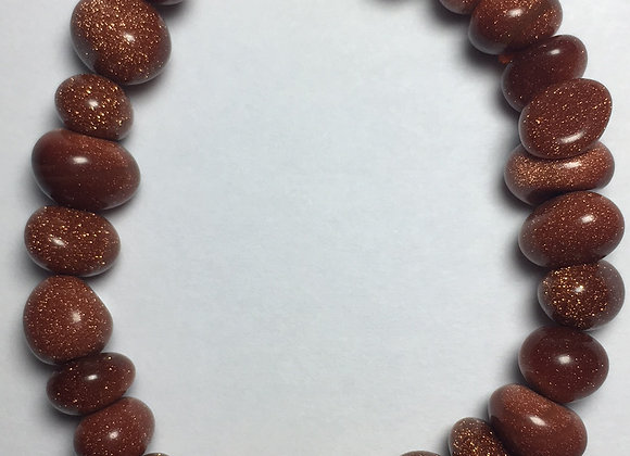 Goldstone Gemstone Bracelet - Large Bead