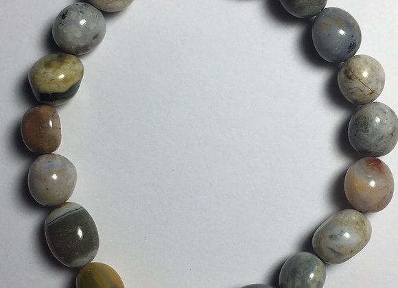 Ocean Jasper Gemstone Bracelet - Large Bead
