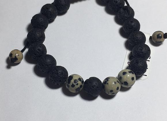 Dalmatian Jasper Lava Bead Essential Oil Diffuser Bracelet