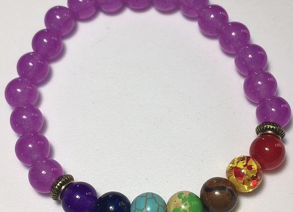Violet and Chakra Gemstone Bracelet