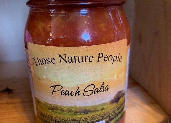 Peach salsa pint jar