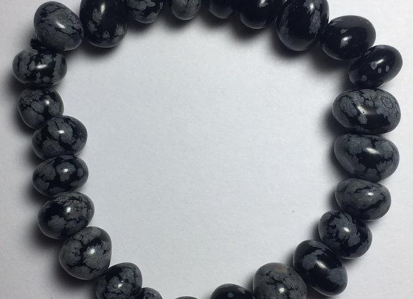 Snowflake Obsidian Gemstone Bracelet - Large Bead