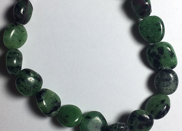 Ruby Zoisite Gemstone Bracelet - Large Bead