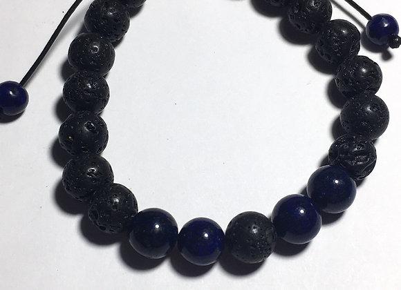 Dark Blue and Lava Bead Essential Oil Diffuser Adjustable Bracelet